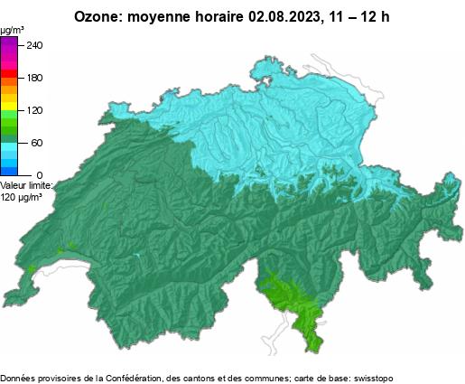 Ozone, moyenne horaire